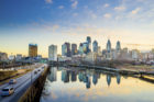Downtown Skyline of Philadelphia, Pennsylvania at twilight