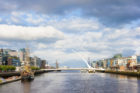 Samuel Beckett Bridge over Liffey river in Dublin