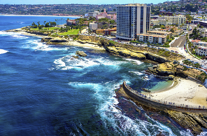 Aerial view from ocean looking back at La Jolla and Children's Pool
